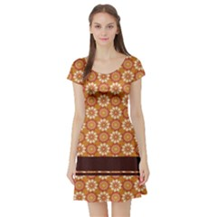 Floral Seamless Pattern Vector Short Sleeve Skater Dress