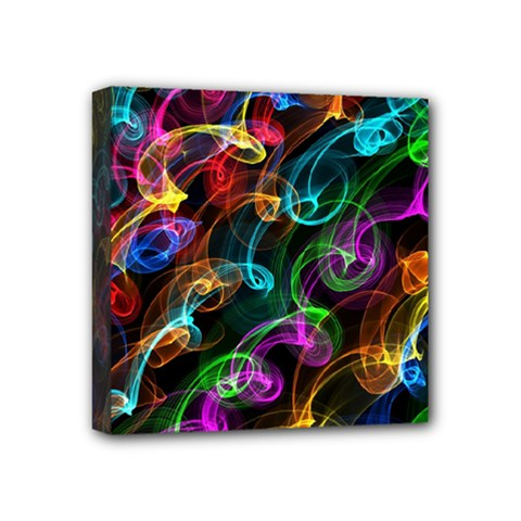 Rainbow Ribbon Swirls Digitally Created Colourful Mini Canvas 4  X 4  by Nexatart