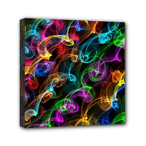 Rainbow Ribbon Swirls Digitally Created Colourful Mini Canvas 6  X 6  by Nexatart