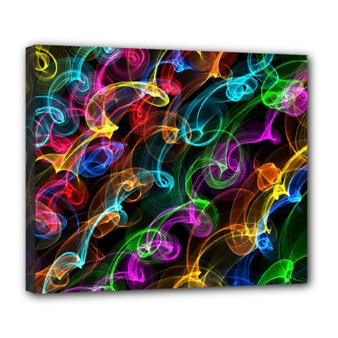 Rainbow Ribbon Swirls Digitally Created Colourful Deluxe Canvas 24  X 20