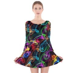 Rainbow Ribbon Swirls Digitally Created Colourful Long Sleeve Velvet Skater Dress