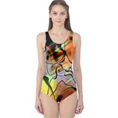 Abstract Pattern Texture One Piece Swimsuit