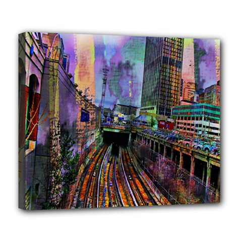 Downtown Chicago City Deluxe Canvas 24  X 20   by Nexatart