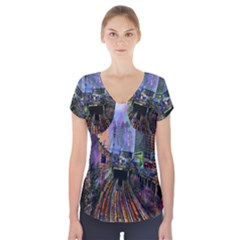 Downtown Chicago City Short Sleeve Front Detail Top by Nexatart