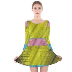Brickwall Long Sleeve Velvet Skater Dress by Nexatart