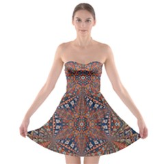 Armenian Carpet In Kaleidoscope Strapless Bra Top Dress by Nexatart