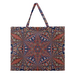 Armenian Carpet In Kaleidoscope Zipper Large Tote Bag by Nexatart