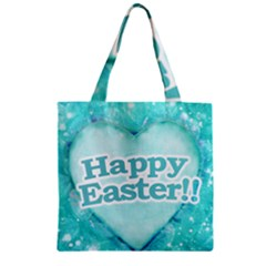 Happy Easter Theme Graphic Zipper Grocery Tote Bag by dflcprints