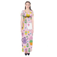 Cute Easter Pattern Short Sleeve Maxi Dress by Valentinaart