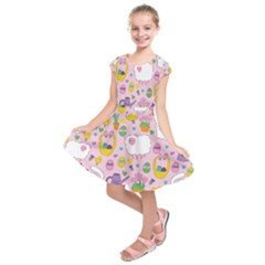 Cute Easter Pattern Kids  Short Sleeve Dress by Valentinaart