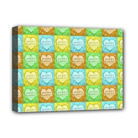 Colorful Happy Easter Theme Pattern Deluxe Canvas 16  X 12   by dflcprints