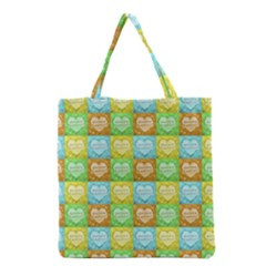 Colorful Happy Easter Theme Pattern Grocery Tote Bag by dflcprints