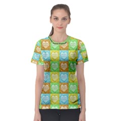 Colorful Happy Easter Theme Pattern Women s Sport Mesh Tee by dflcprintsclothing