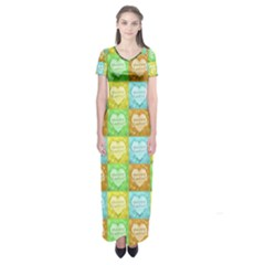 Colorful Happy Easter Theme Pattern Short Sleeve Maxi Dress by dflcprintsclothing