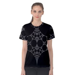 Drawing Of A White Spindle On Black Women s Cotton Tee by Nexatart