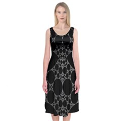 Drawing Of A White Spindle On Black Midi Sleeveless Dress
