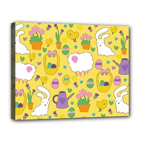 Cute Easter Pattern Canvas 14  X 11  by Valentinaart