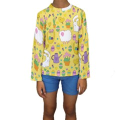 Cute Easter Pattern Kids  Long Sleeve Swimwear by Valentinaart