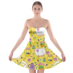 Cute Easter Pattern Strapless Bra Top Dress by Valentinaart