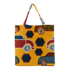 Husbands Cars Autos Pattern On A Yellow Background Grocery Tote Bag