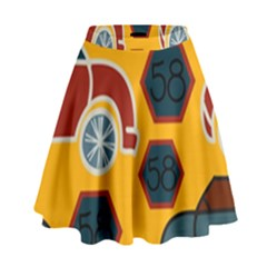Husbands Cars Autos Pattern On A Yellow Background High Waist Skirt by Nexatart