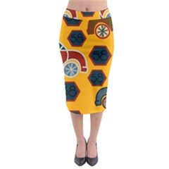 Husbands Cars Autos Pattern On A Yellow Background Midi Pencil Skirt by Nexatart