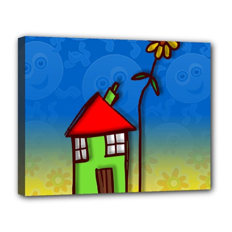 Colorful Illustration Of A Doodle House Canvas 14  X 11  by Nexatart
