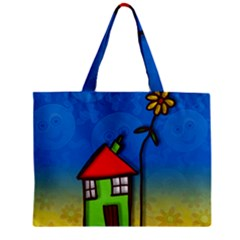 Colorful Illustration Of A Doodle House Zipper Mini Tote Bag by Nexatart