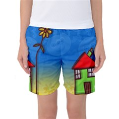 Colorful Illustration Of A Doodle House Women s Basketball Shorts