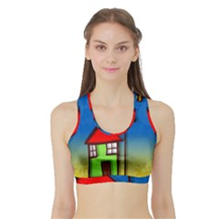 Colorful Illustration Of A Doodle House Sports Bra With Border
