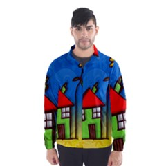 Colorful Illustration Of A Doodle House Wind Breaker (men)