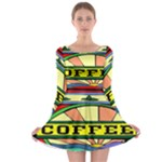 Coffee Tin A Classic Illustration Long Sleeve Skater Dress