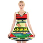 Coffee Tin A Classic Illustration V-Neck Sleeveless Skater Dress