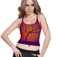 Beautiful Tree Background Spaghetti Strap Bra Top