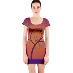 Beautiful Tree Background Short Sleeve Bodycon Dress