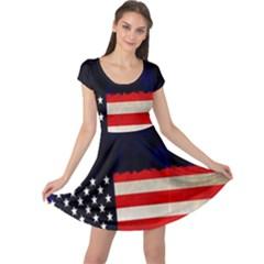Grunge American Flag Background Cap Sleeve Dresses
