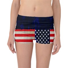 Grunge American Flag Background Reversible Bikini Bottoms by Nexatart