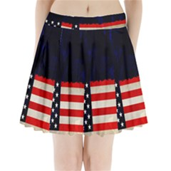 Grunge American Flag Background Pleated Mini Skirt by Nexatart