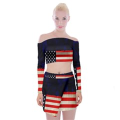 Grunge American Flag Background Off Shoulder Top with Skirt Set by Nexatart