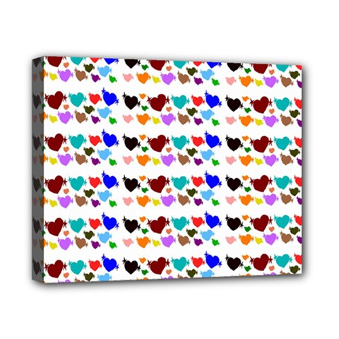 A Creative Colorful Background With Hearts Canvas 10  X 8  by Nexatart