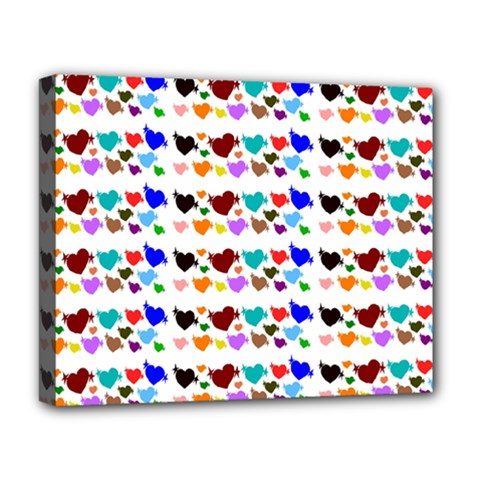 A Creative Colorful Background With Hearts Deluxe Canvas 20  X 16