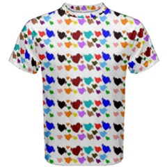 A Creative Colorful Background With Hearts Men s Cotton Tee