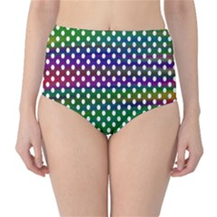 Digital Polka Dots Patterned Background High Waist Bikini Bottoms