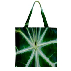 Green Leaf Macro Detail Grocery Tote Bag