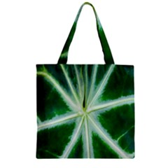 Green Leaf Macro Detail Zipper Grocery Tote Bag by Nexatart