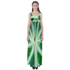 Green Leaf Macro Detail Empire Waist Maxi Dress