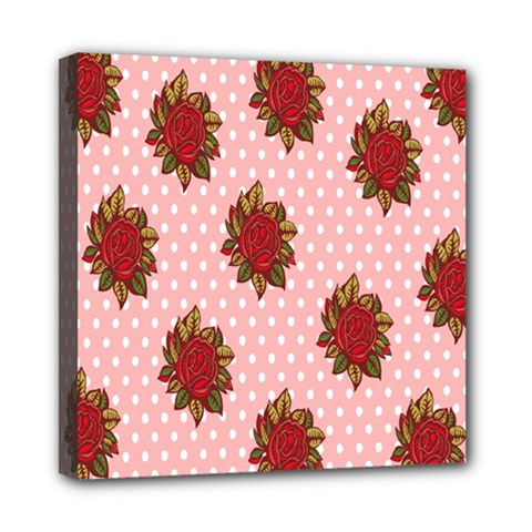 Pink Polka Dot Background With Red Roses Mini Canvas 8  X 8