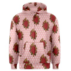 Pink Polka Dot Background With Red Roses Men s Zipper Hoodie