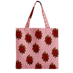 Pink Polka Dot Background With Red Roses Zipper Grocery Tote Bag by Nexatart