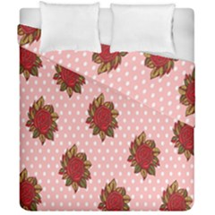 Pink Polka Dot Background With Red Roses Duvet Cover Double Side (california King Size) by Nexatart